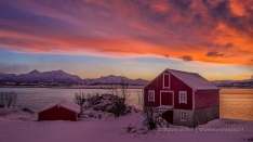 Glowing sky over Lofoten